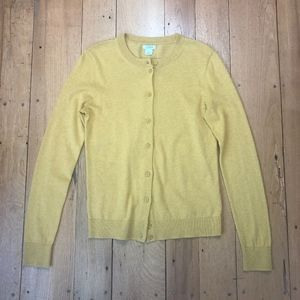 J Crew Button-front Mustard Cardigan Sweater
